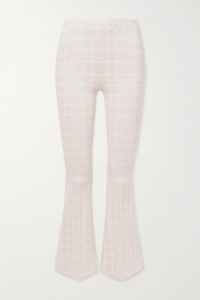 Rosetta Getty Cottons CROPPED CHECKED WOVEN FLARED PANTS