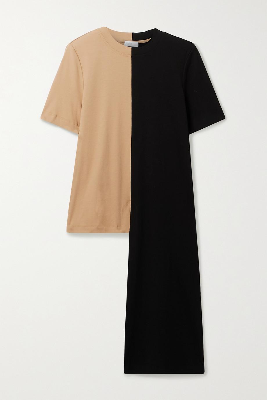 Rosetta Getty Asymmetric two-tone cotton-jersey T-shirt