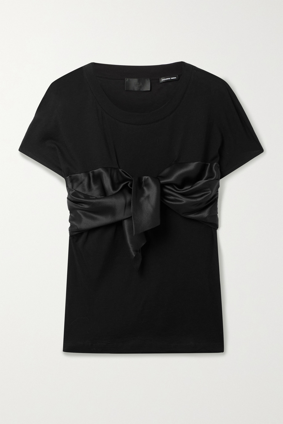 RtA Viviana silk satin-trimmed cotton and cashmere-blend T-shirt