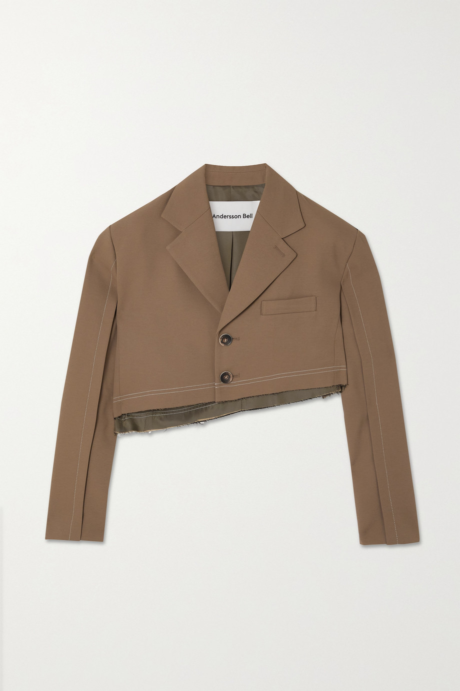 Andersson Bell Saatchi asymmetric cropped two-tone twill blazer