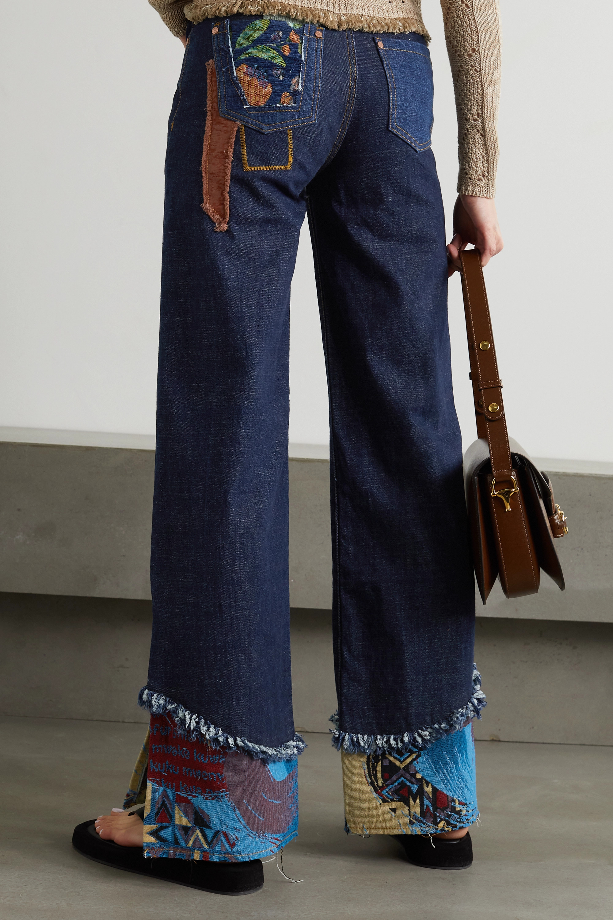 Andersson Bell Max appliquéd patchwork high-rise wide-leg jeans
