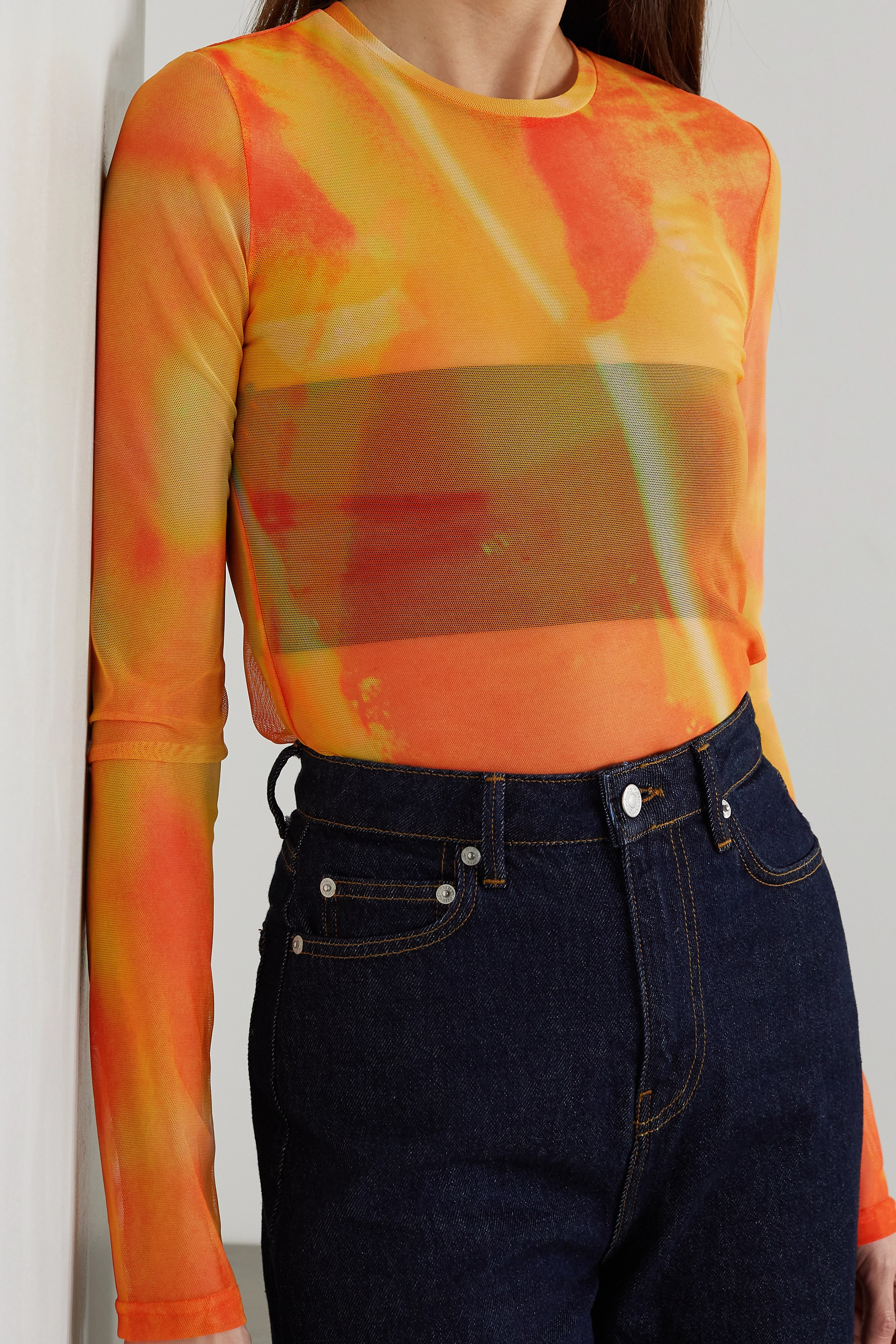Andersson Bell Printed stretch-mesh top