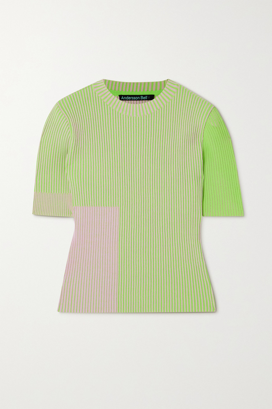 Andersson Bell Janis two-tone ribbed-knit top