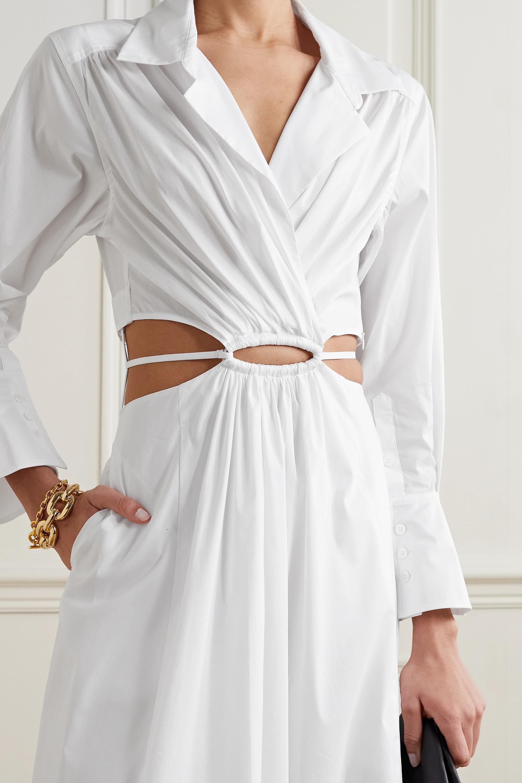 Jonathan Simkhai Alex Midi-Hemdblusenkleid aus Popeline aus einer Baumwollmischung mit Cut-outs