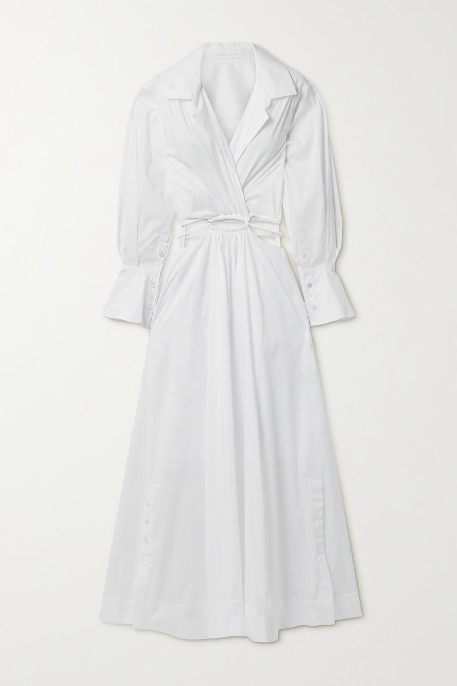 Jonathan Simkhai Alex cutout cotton-blend poplin midi shirt dress