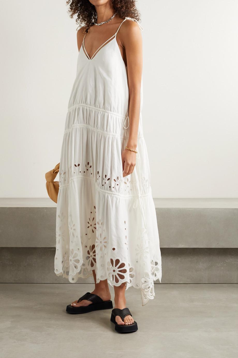 Jonathan Simkhai Juna tiered broderie anglaise linen-blend maxi dress