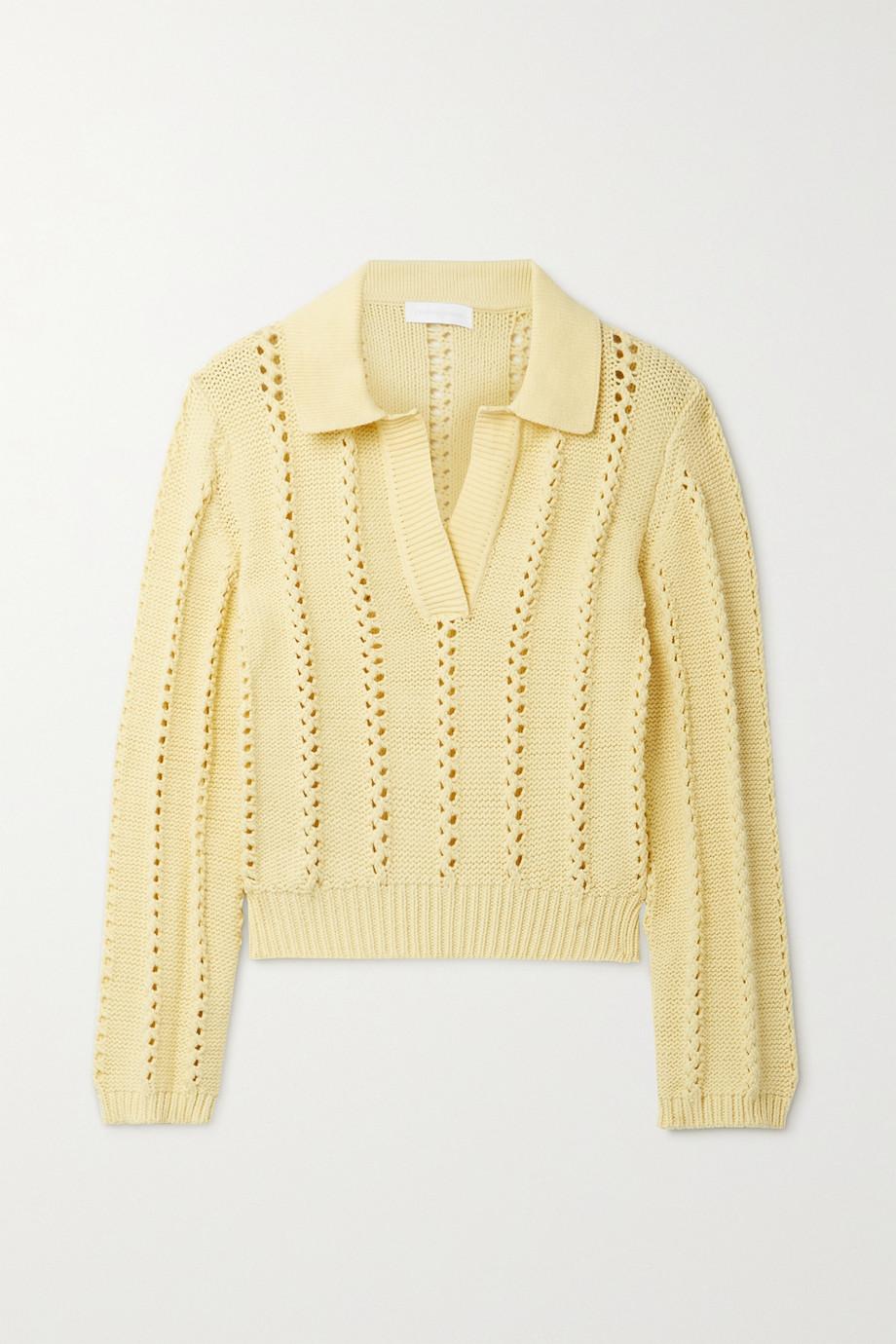 Jonathan Simkhai Berenice open-knit trimmed cotton-blend sweater