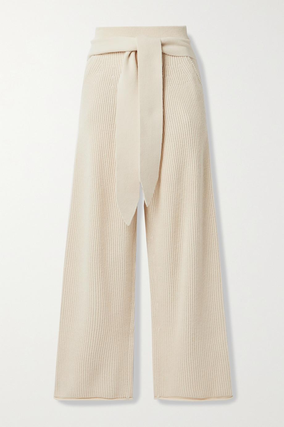 Jonathan Simkhai Tala tie-front ribbed-knit wide-leg pants