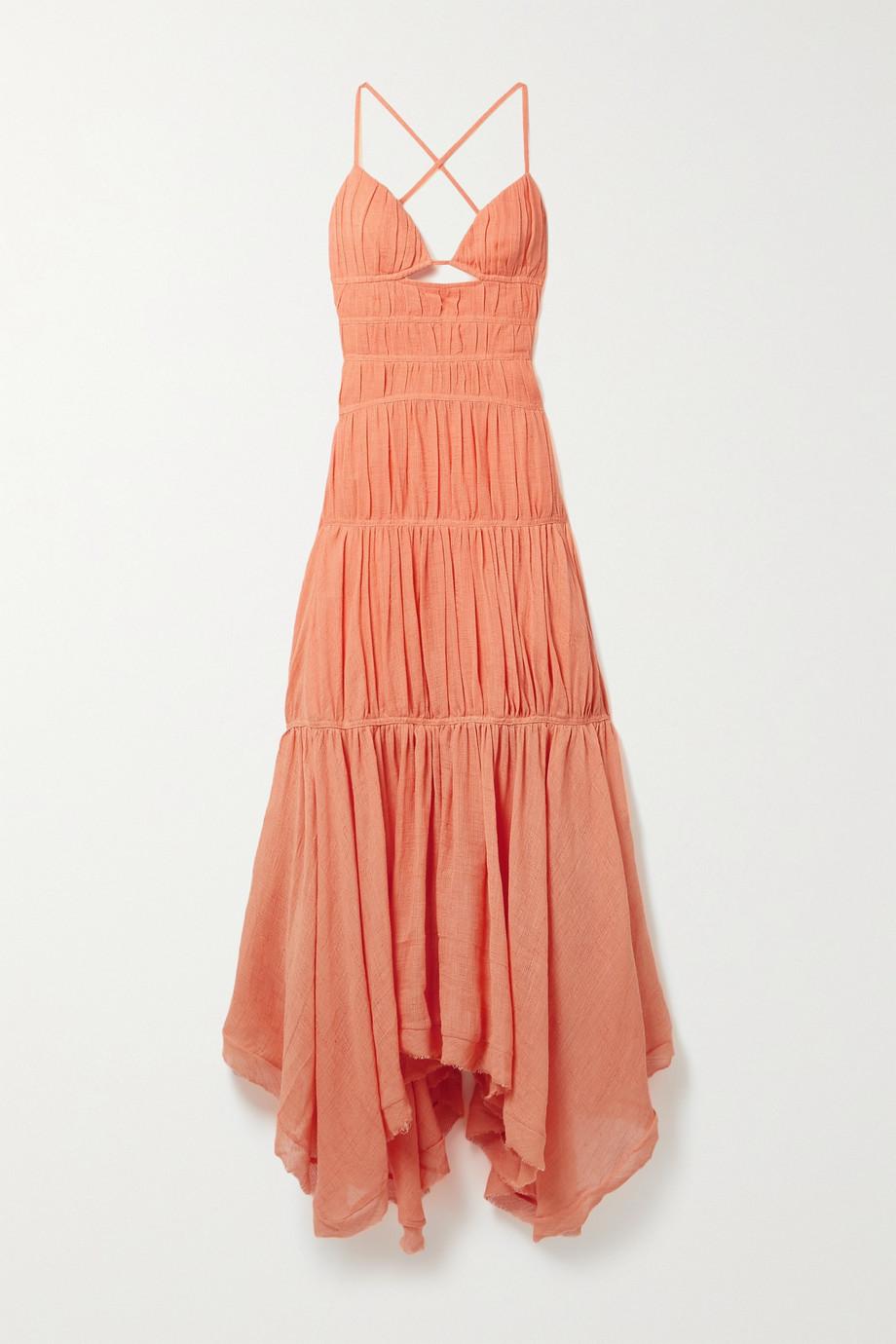 Jonathan Simkhai Winnie open-back tiered ruched cotton and linen-blend gauze maxi dress