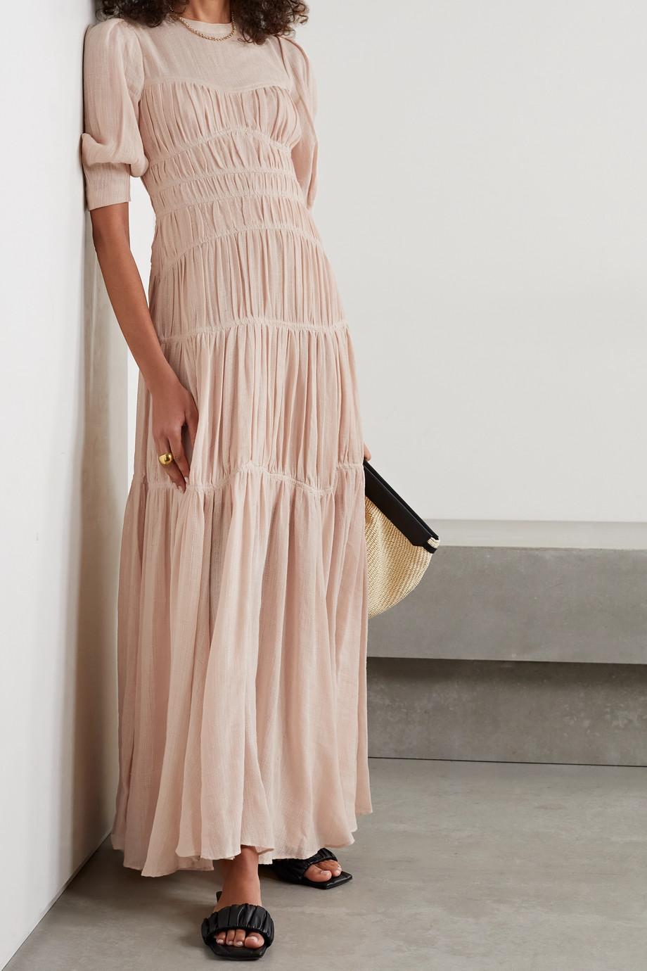 Jonathan Simkhai Fira open-back ruched cotton and linen-blend gauze maxi dress