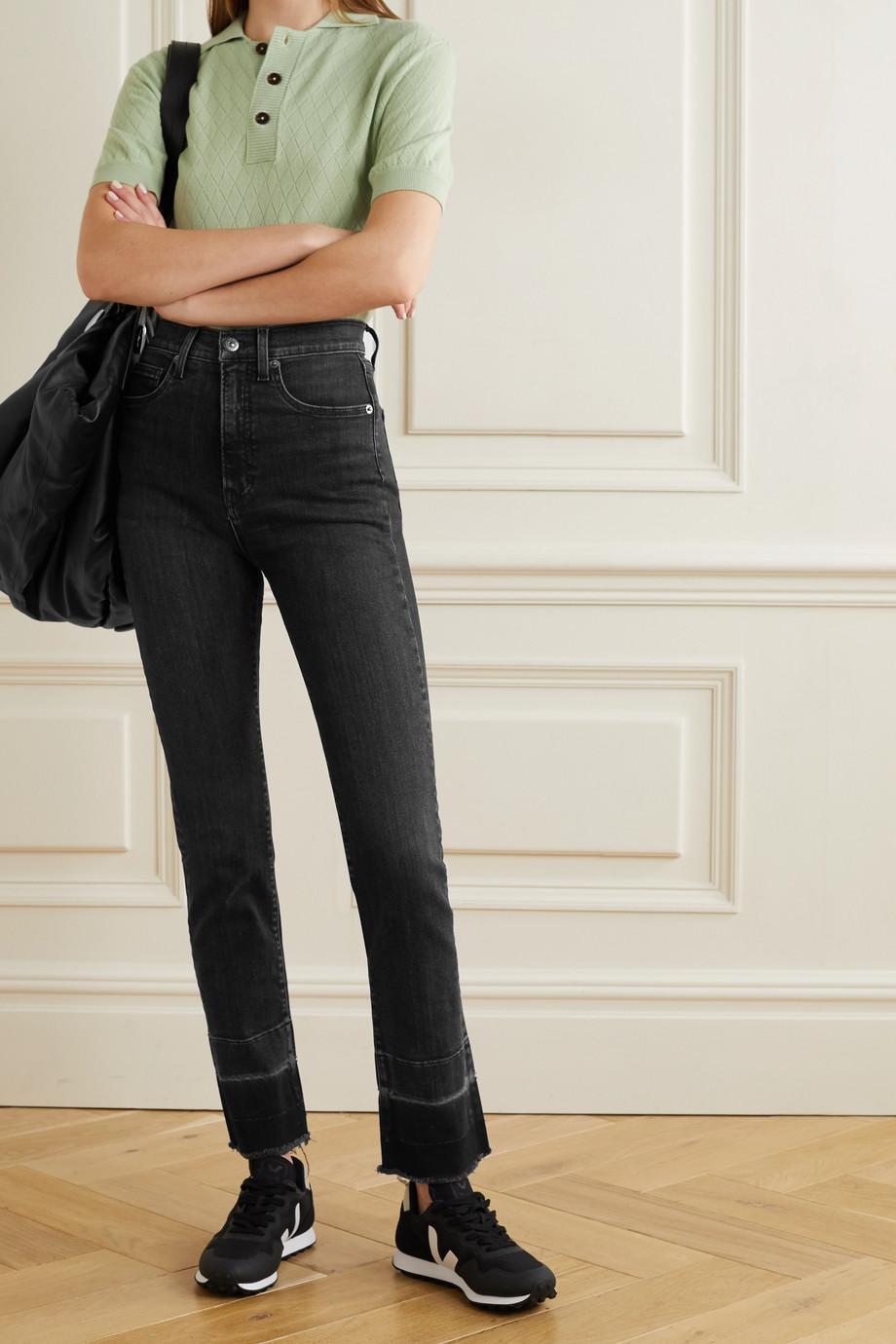 Veronica Beard Ryleigh distressed high-rise straight-leg jeans