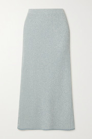 Theory Mouline ribbed-knit midi skirt