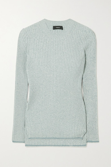 Theory - Mouline Ribbed-knit Sweater - Blue