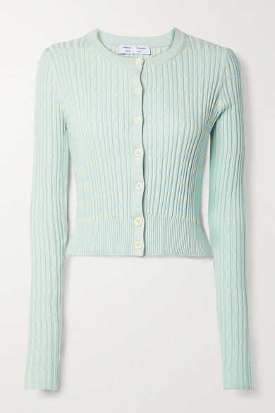 Proenza Schouler White Label Cardigans CROPPED RIBBED MÉLANGE SILK AND COTTON-BLEND CARDIGAN