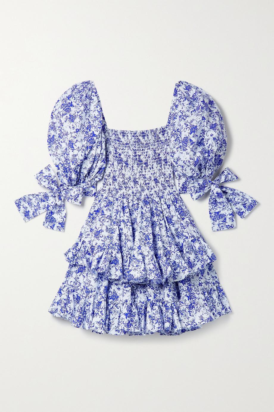 Caroline Constas Finley shirred tiered floral-print cotton-blend poplin mini dress