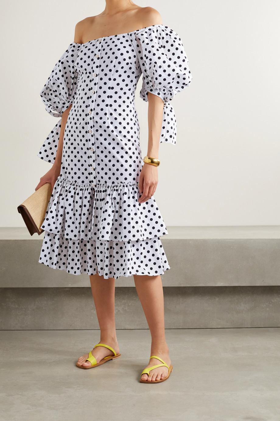 Caroline Constas Nella off-the-shoulder ruffled polka-dot cotton-blend poplin midi dress