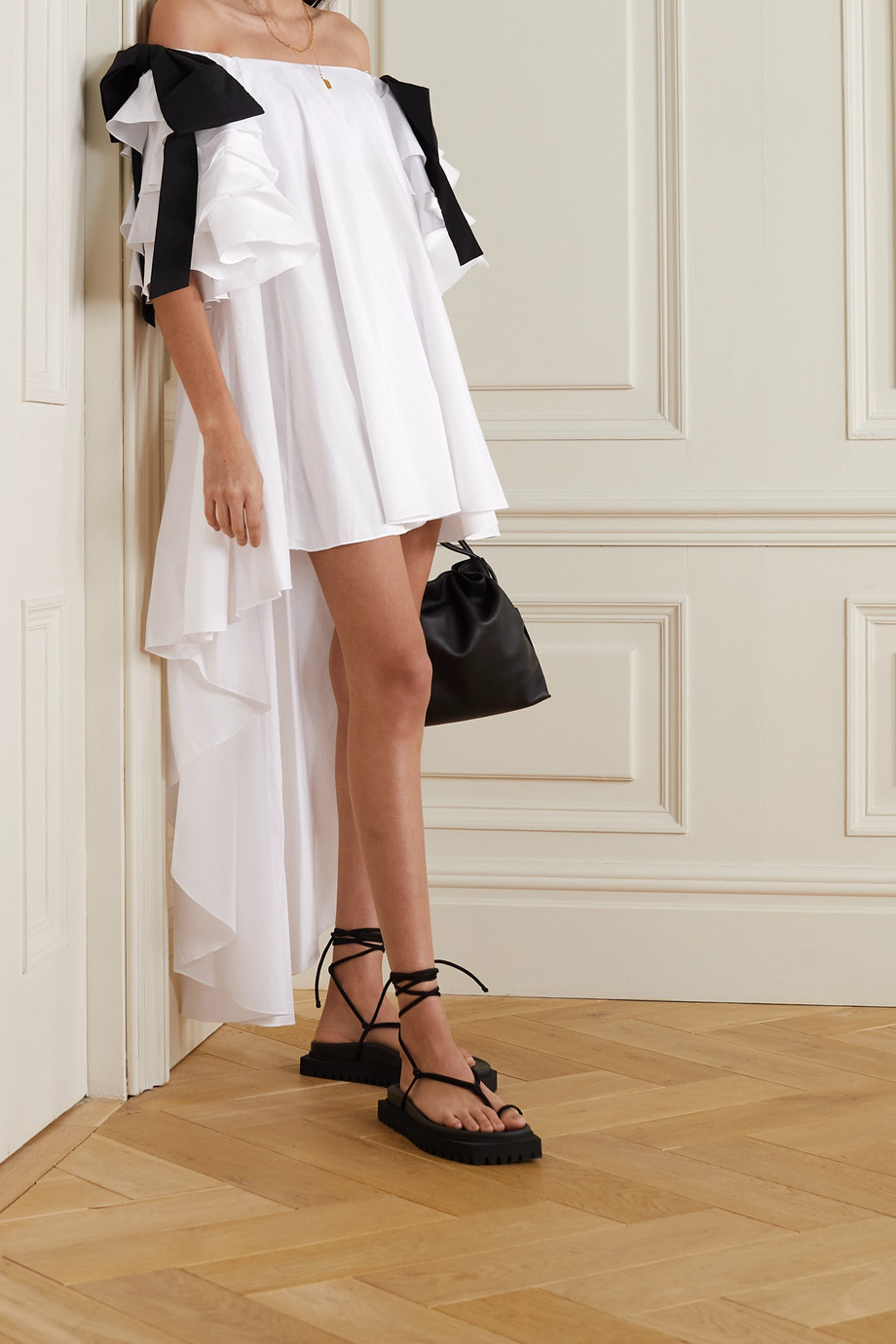 Caroline Constas Fiona off-the-shoulder asymmetric ruffled cotton-blend dress