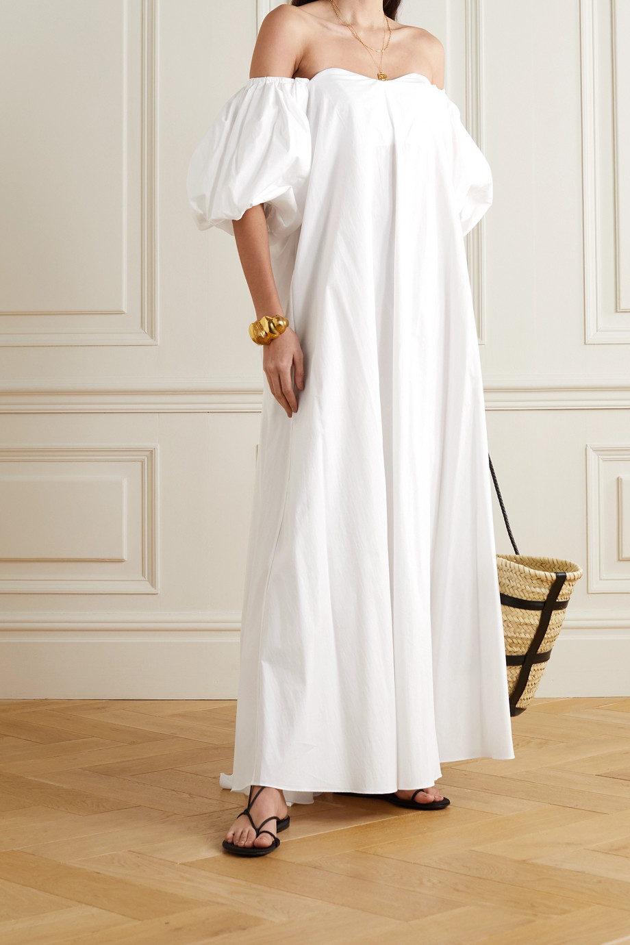 Caroline Constas Palmer off-the-shoulder cotton-blend maxi dress