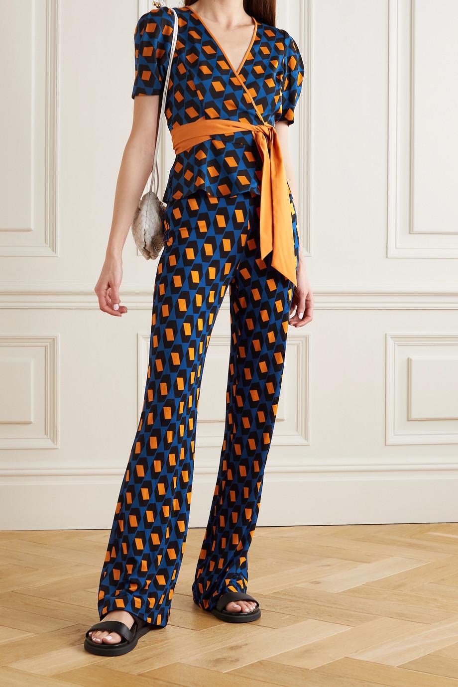 Diane von Furstenberg Pantalon évasé en jersey imprimé Caspian