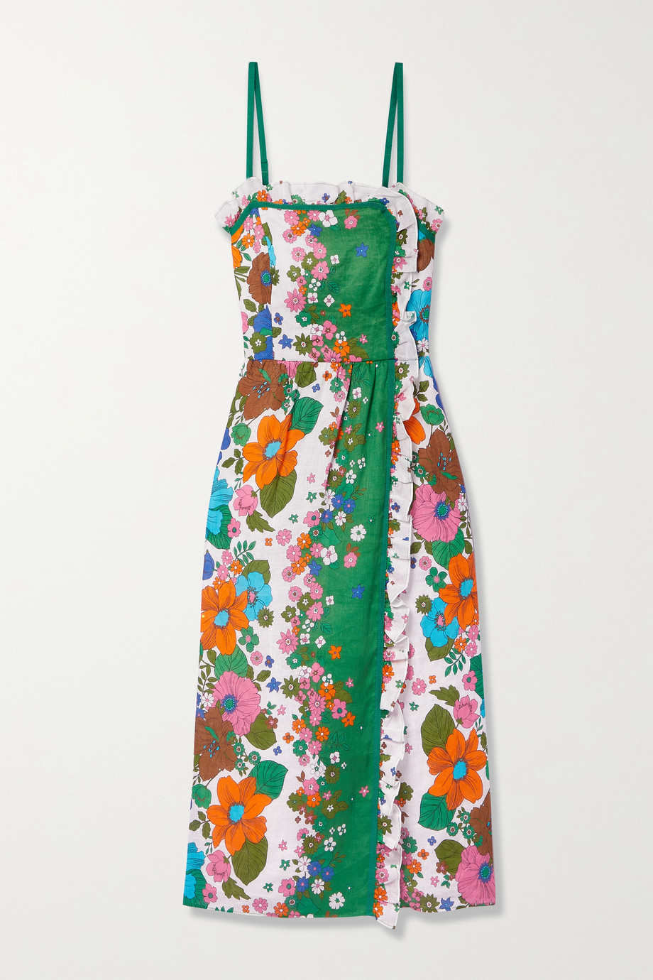 Zimmermann Riders ruffled floral-print linen midi dress