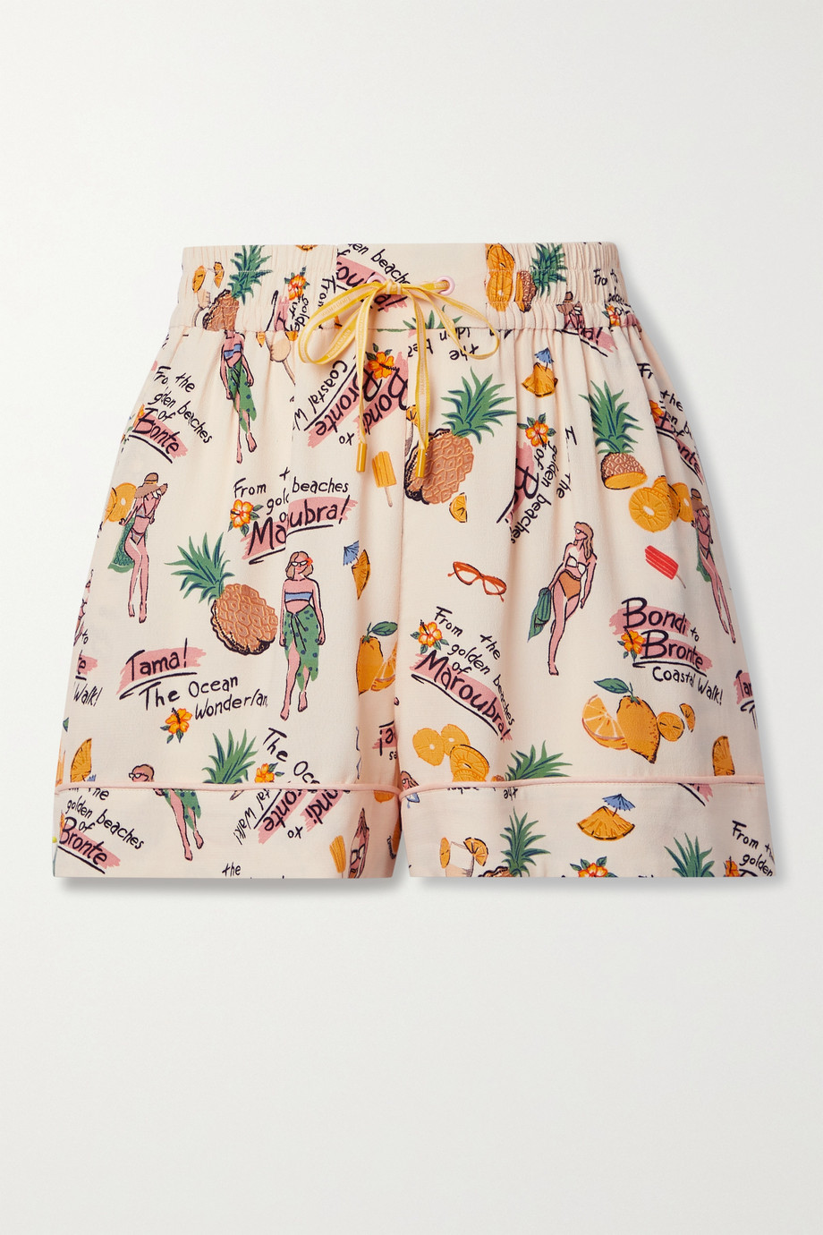 Zimmermann Riders printed crepe shorts