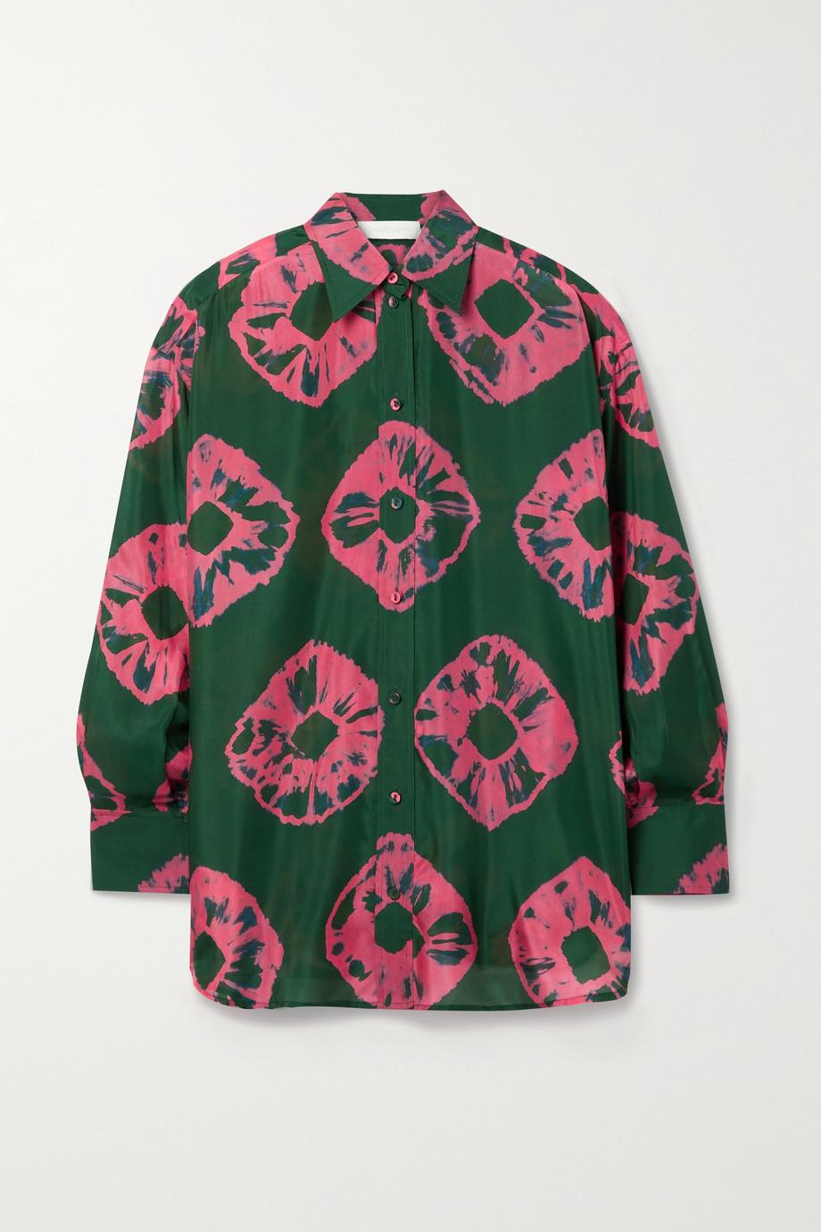 Zimmermann Poppy 扎染真丝电力纺衬衫