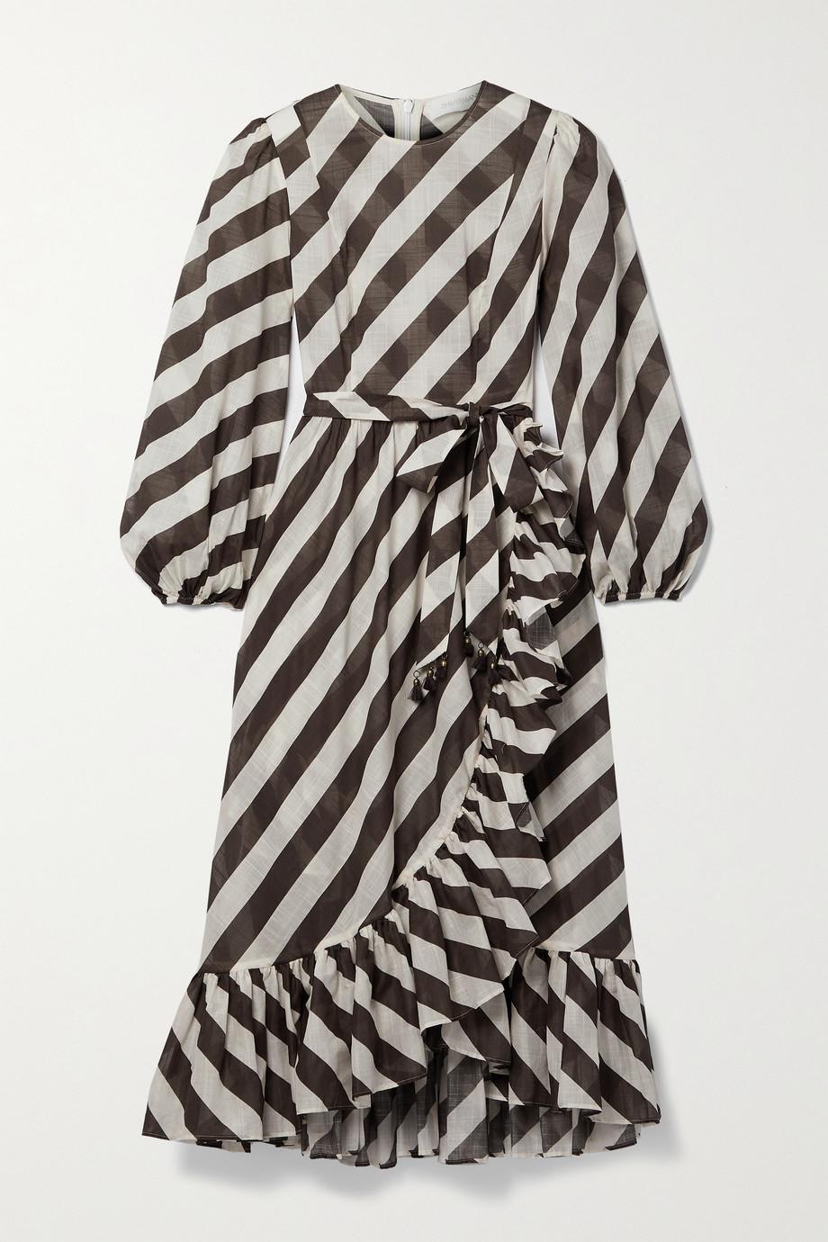 Zimmermann Robe asymétrique en voile de coton à rayures, à volants et à ceinture Lulu