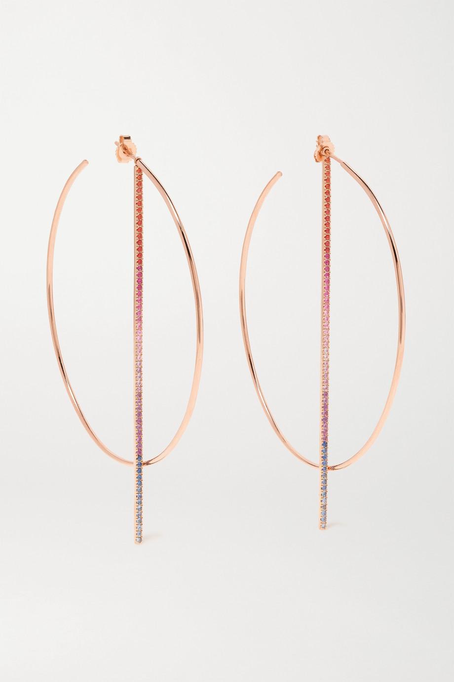 Diane Kordas Rainbow 18-karat rose gold, sapphire and amethyst hoop earrings