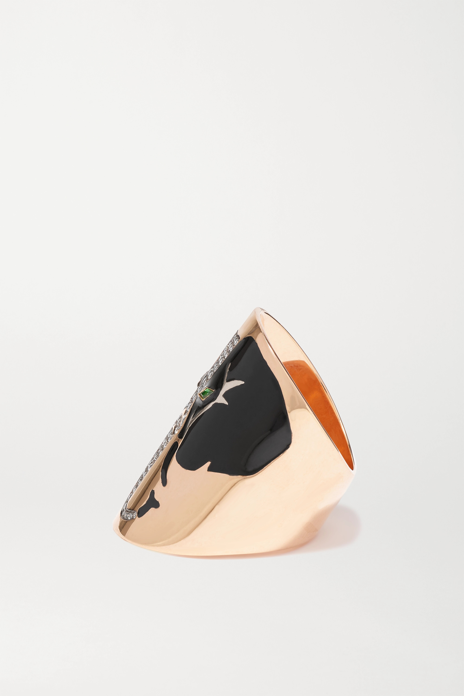 Diane Kordas 18-karat rose gold, diamond, tsavorite and enamel ring