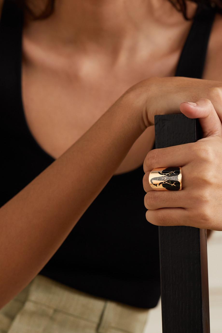Diane Kordas Bague en or rose 18 carats (750/1000), diamants, tsavorites et émail
