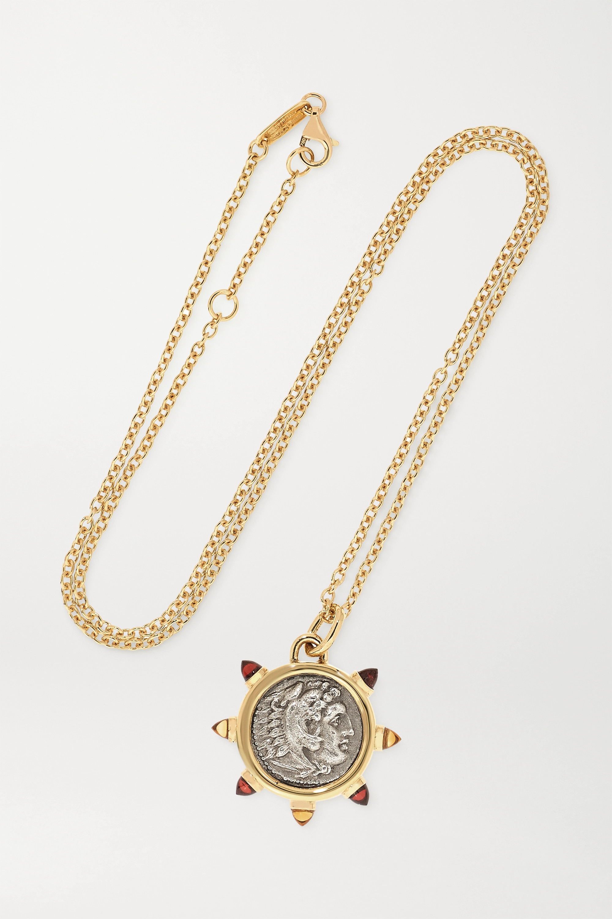 Dubini Alexander the Great 18-karat gold, silver, garnet and citrine necklace