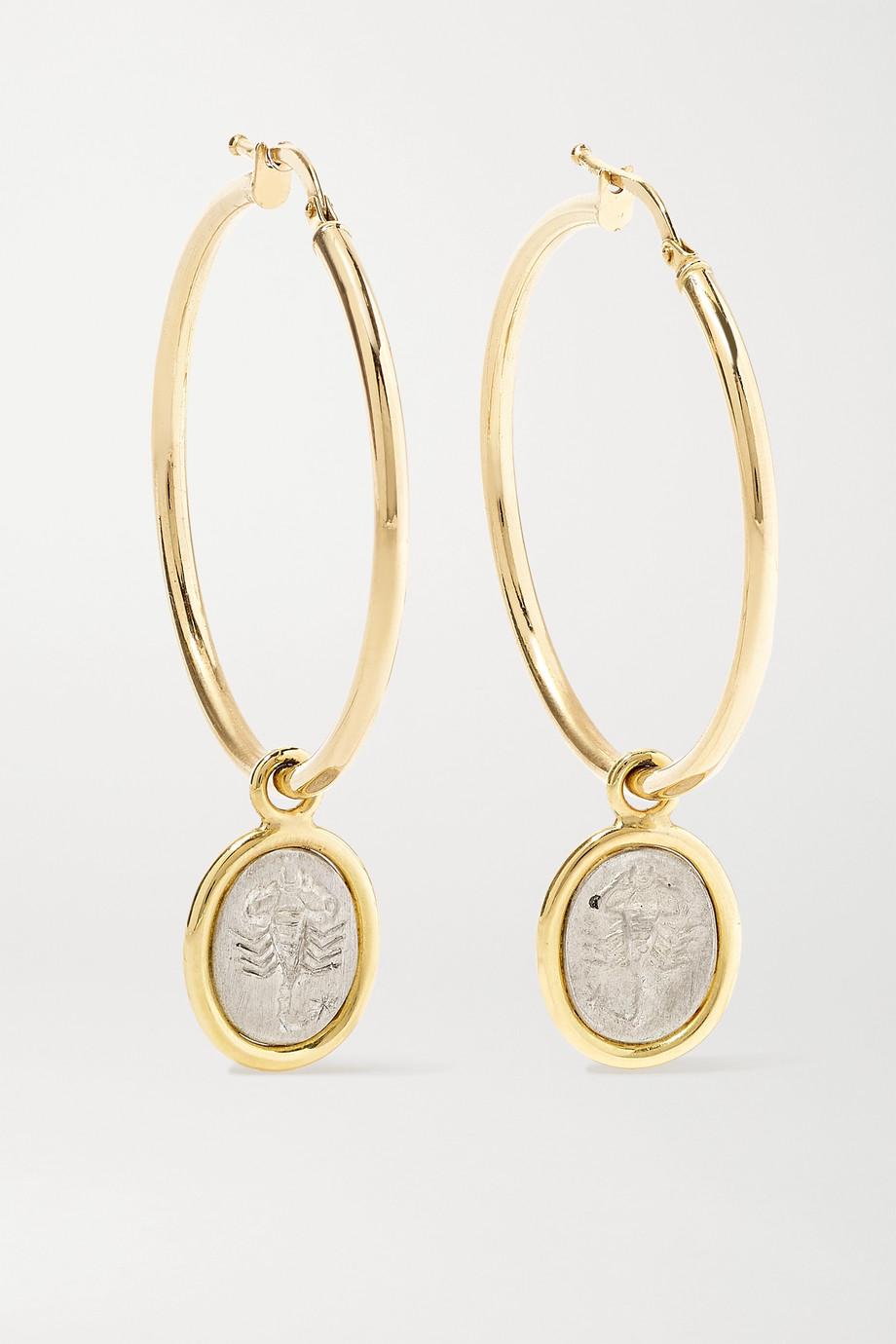 Dubini Scorpio 18-karat gold and sterling silver hoop earrings