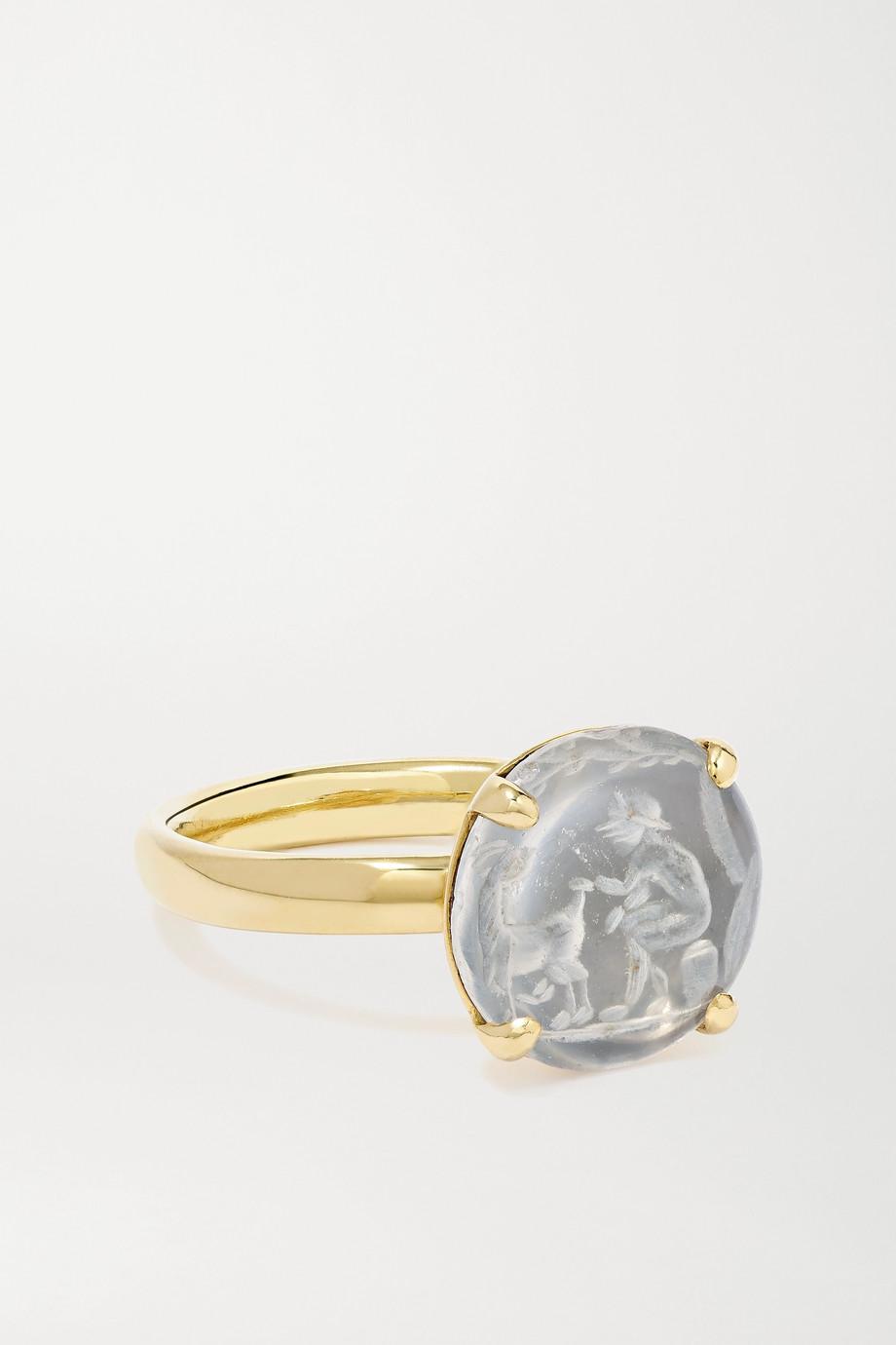 Dubini Bague en or 18 carats, plaqué rhodium et cristal de roche