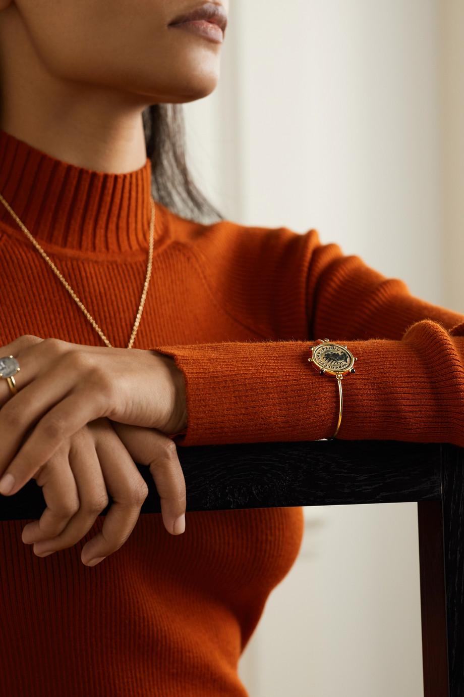 Dubini Valerian 18-karat gold, bronze and garnet bracelet