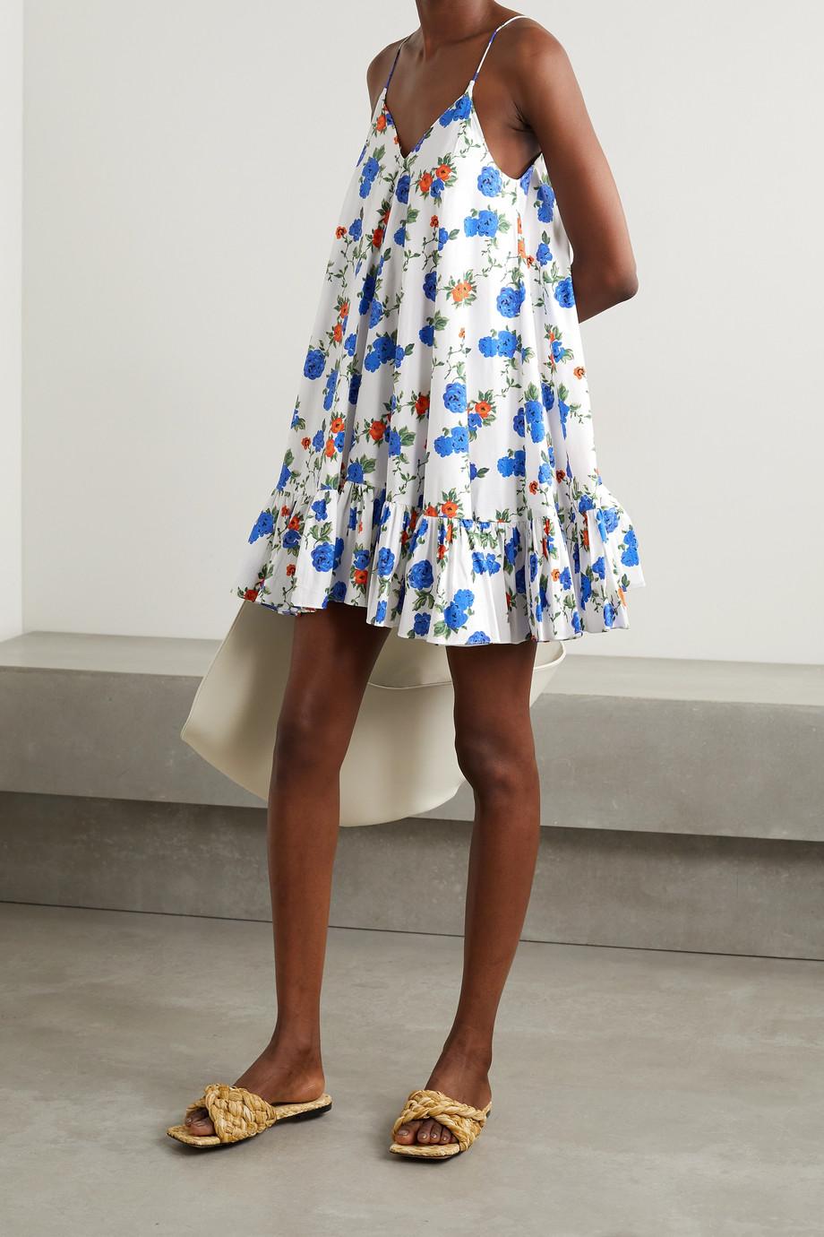 Caroline Constas Laurel Minikleid aus Popeline aus einer Baumwollmischung mit Blumenprint und Volant