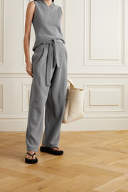 LESET Sienna belted wool-blend wide-leg pants