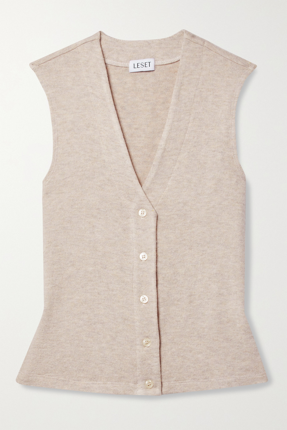 LESET Lori brushed stretch-jersey vest