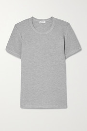 LESET Willow brushed waffle-knit T-shirt