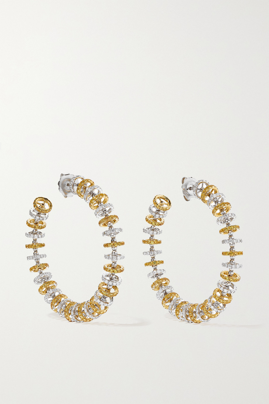 OFIRA Halo 18-karat white and yellow gold, sapphire and diamond hoop earrings