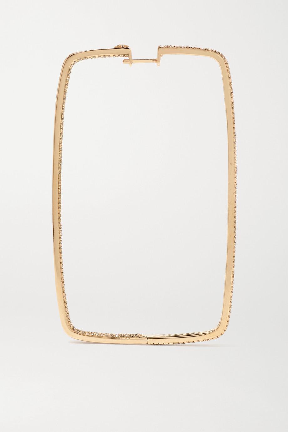 OFIRA Box 18-karat rose gold diamond hoop earrings