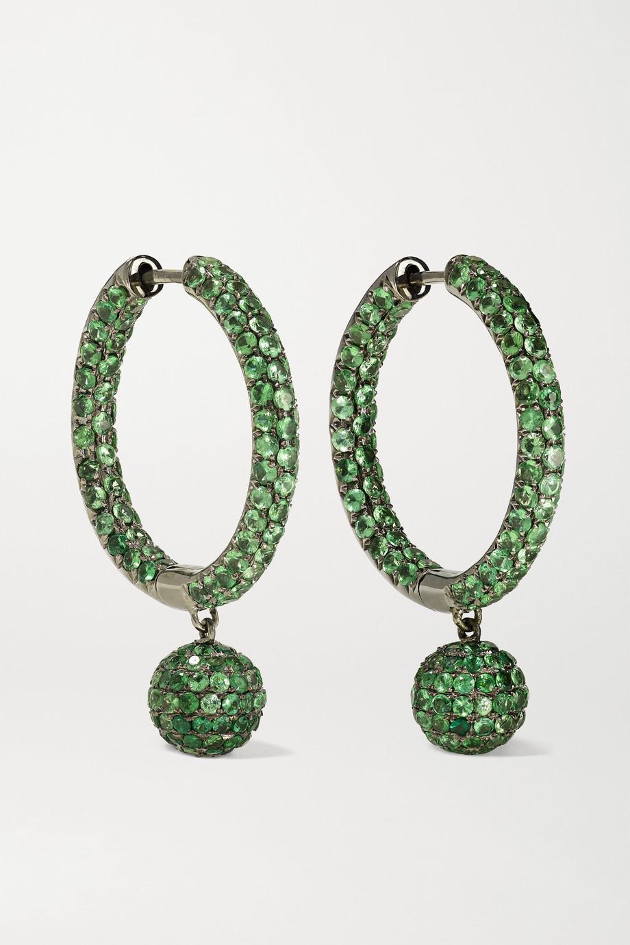 OFIRA 18-karat blackened white gold tsavorite  earrings