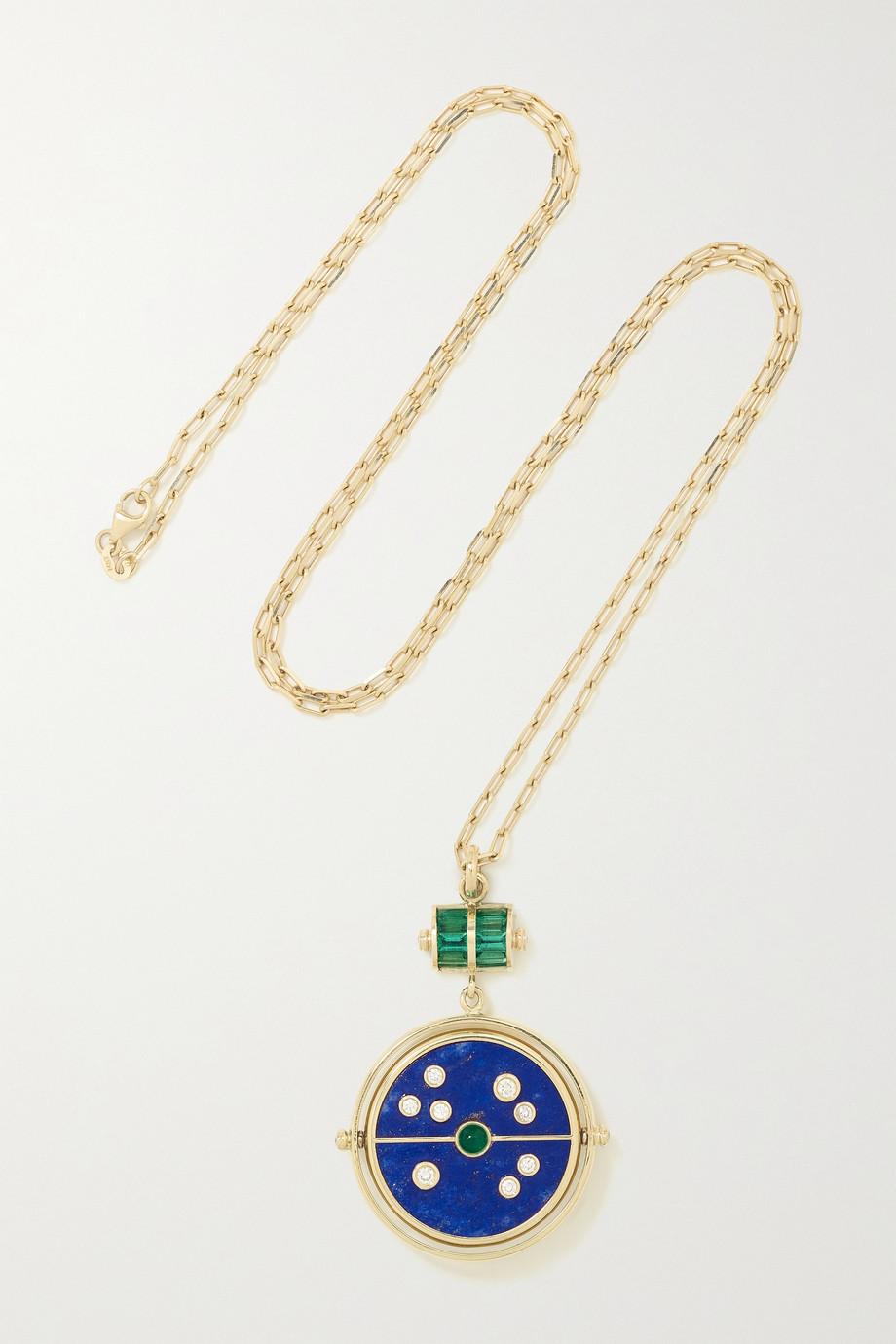 Retrouvaí Collier en or 14 carats et pierres multiples Grandfather Compass