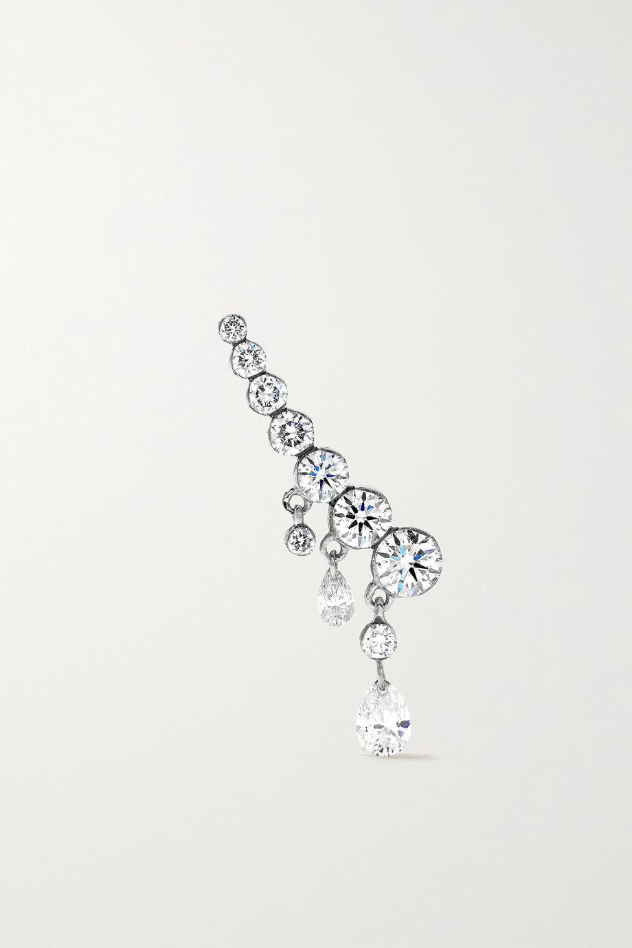 MARIA TASH 18mm Curved Crescendo 18-karat gold diamond earring