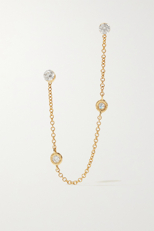 MARIA TASH 76 mm Scalloped und 3 mm Invisible Ohrringe aus 18 Karat Gold mit Diamanten