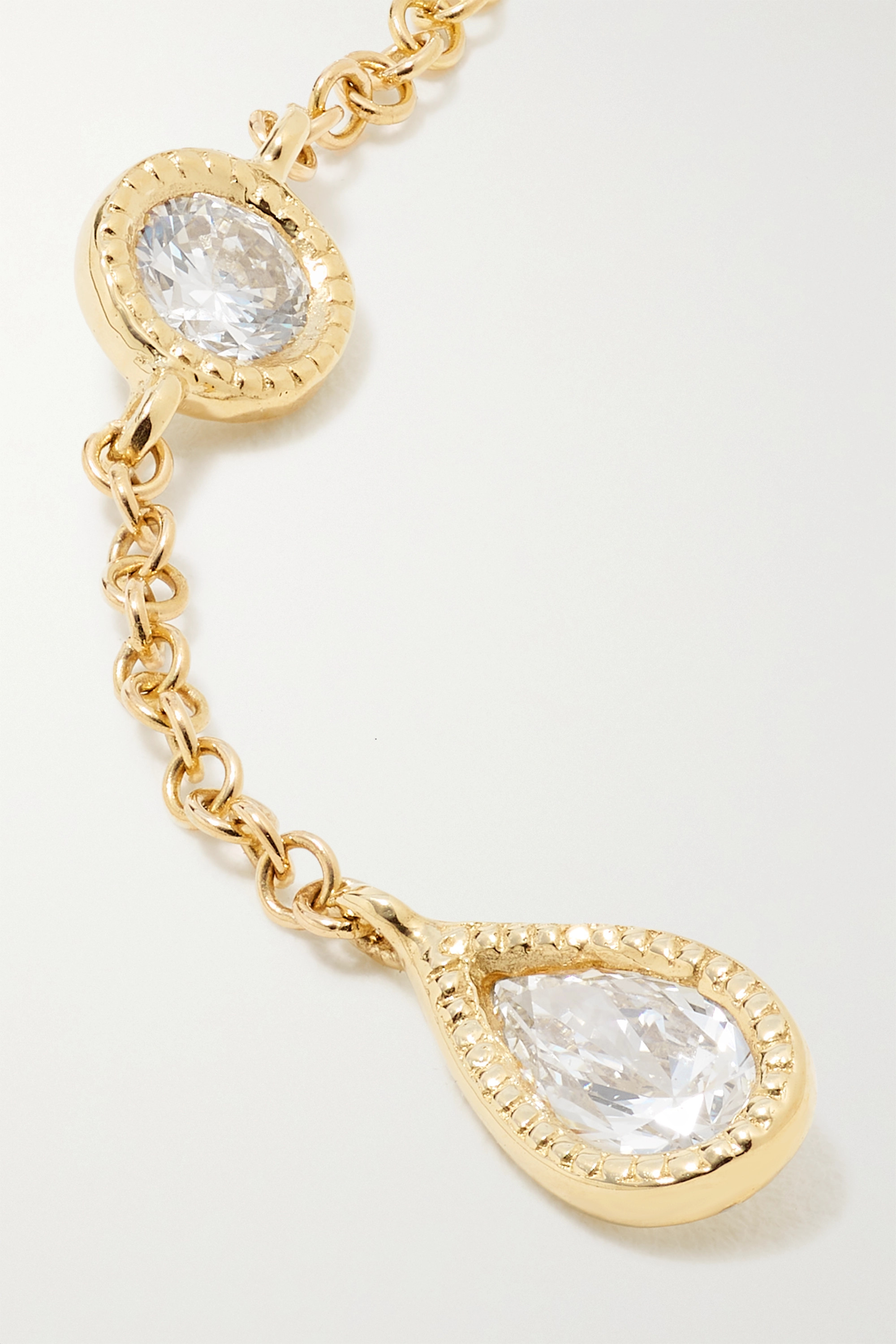 MARIA TASH Scalloped Pendulum 18-karat gold diamond earring