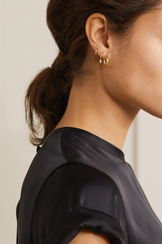 Octavia Elizabeth Nesting Gem Gabby 18-karat gold emerald hoop earrings