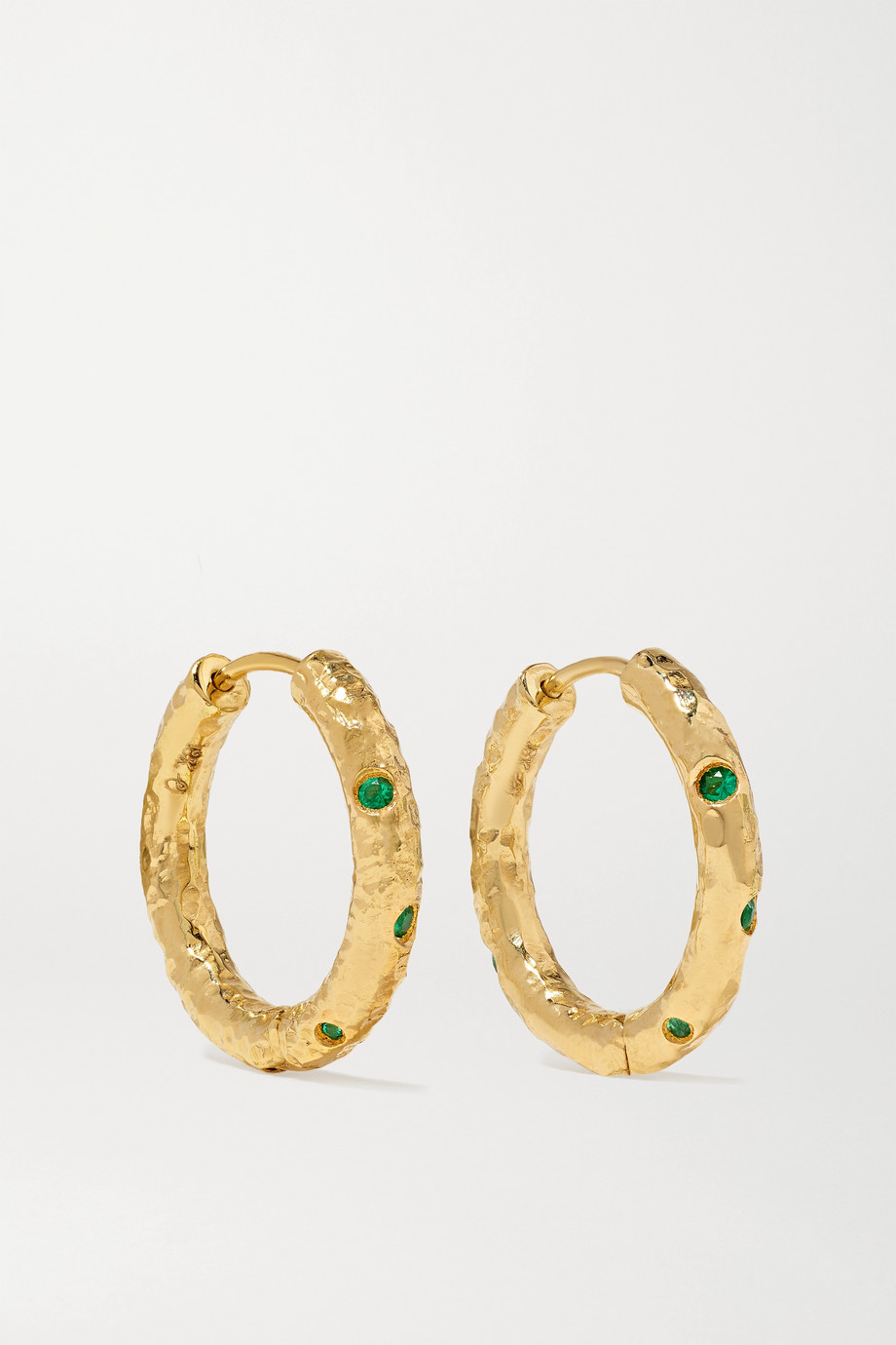 Octavia Elizabeth + NET SUSTAIN Nesting Gem Gabby 18-karat recycled gold emerald hoop earrings