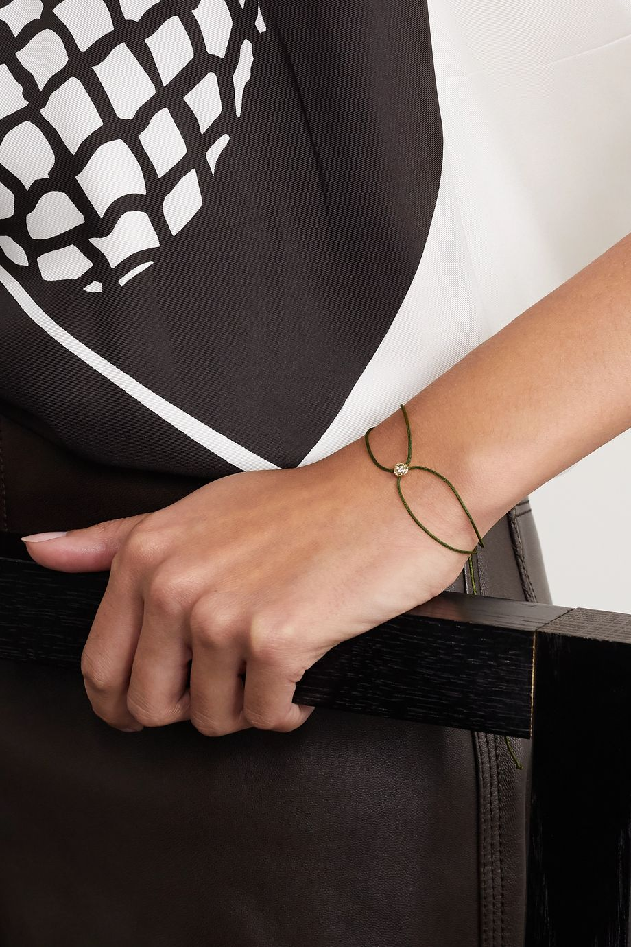 Octavia Elizabeth + NET SUSTAIN Parachute Nesting Gem 18-karat recycled gold, diamond and cord bracelet