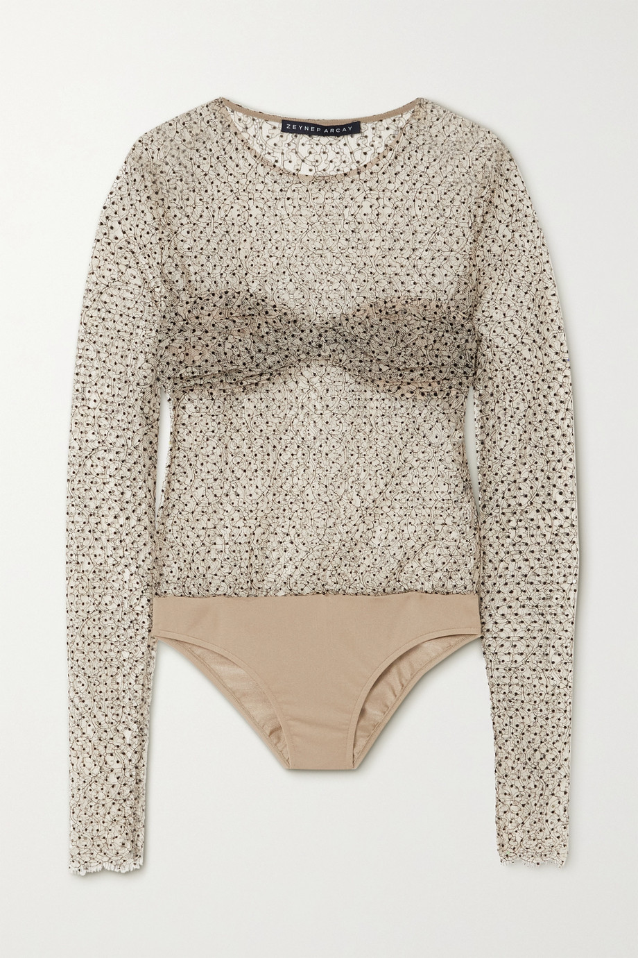 Zeynep Arçay Polka-dot flocked corded lace and jersey bodysuit