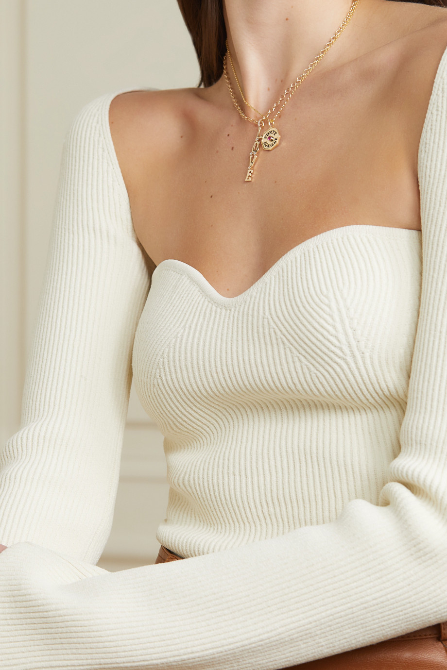 Marlo Laz Mini Porte Bonheur Coin 14-karat gold, enamel and sapphire necklace